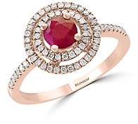Bloomingdale's Ruby & Diamond Halo Ring in 14K Rose Gold - 100% Exclusive
