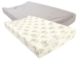 Touched by Nature Baby Girls and Boys Birch Trees Changing Pad Cover, Pack of 2