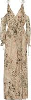Haute Hippie Cold-shoulder floral-print silk-chiffon maxi dress