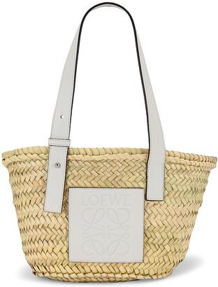 Loewe Basket Small Bag in Natural & White | FWRD
