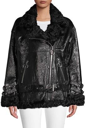 Nicole Benisti Bowery Leather Shearling Jacket