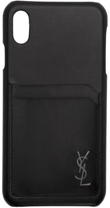 Saint Laurent Black Leather Monogramme iPhone XS Max Case