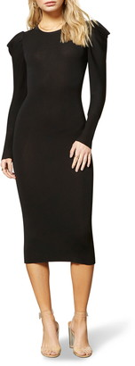 BB Dakota Puff Idea Long Sleeve Knit Body-Con Midi Dress
