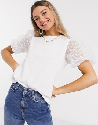 Asos DESIGN t-shirt with organza sleeve