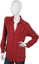 Plaid Boyfriend Oversized Shirt in Red, Grey, and Brown