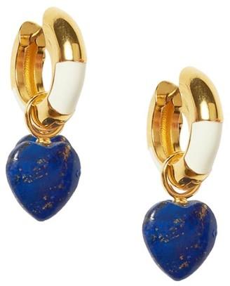 Lizzie Fortunato Life Saver 18K Goldplated & Lapis Heart Charm Hoop Earrings