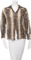John Galliano Silk Snake Print Top
