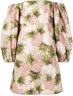 Cara Cara Off-Shoulder Pineapple Print Dress