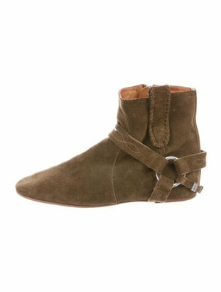 Etoile Isabel Marant Suede Whipstitch Trim Boots Green