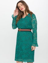 ELOQUII Plus Size Studio V Neck Allover Lace Dress