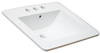 "American Imaginations 21"" Single Bathroom Vanity Top Hardware Finish: Aluminum, Faucet Mount: 4"" Off Center"