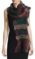 Faliero Sarti Exagere Fuzzy Plaid Raw-Edge Scarf, Multicolor