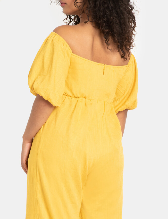 Thumbnail for your product : ELOQUII Sweetheart Puff Sleeve Jumpsuit