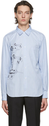 Comme des Garçons Homme Deux Blue and White Disney Edition Striped Printed Shirt