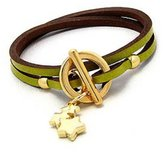 Beautiful Silver Jewelry Green Leather Double Wrap Bracelet with Goldtone Stars Dangle in Gift Box