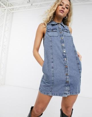 ASOS DESIGN soft denim sleeveless mini shirt dress in acid wash