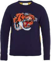Gucci Tiger-intarsia contrast-back wool sweater