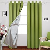 Deconovo Grommet Top Curtains Blackout Curtains Thermal Insulated Drapes with Silver Coating for Bedroom 52 By 63 Inch Light Green 1 Pair