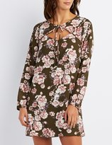 Charlotte Russe Floral Tie-Neck Shift Dress