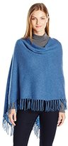 Minnie Rose Women's Cashmere Fringe Ruana Sweater Poncho