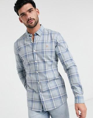 Farah check slim long sleeve shirt