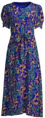 Saloni Lea Leaf-Print A-Line Midi Dress