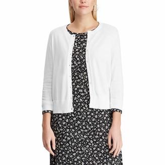Chaps Women's Petite 3/4 Sleeve Cotton Crewneck Cardigan