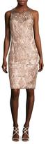 Marchesa Embroidered Mesh Sheath Dress