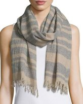 Eileen Fisher Reclaimed Cashmere Stripes Scarf, Dark Pearl