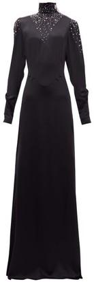 Alessandra Rich Crystal-embellished Silk Maxi Dress - Womens - Black