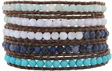 Chan Luu Blue Mix Brown Leather Wrap Bracelet bs-2213
