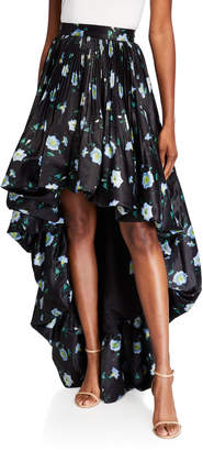 Flor et.al Fire Tea Cups Floral Tiz High-Low Full Pleated Skirt