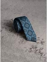 Burberry Slim Cut Tiled Floral Silk Jacquard Tie, Blue