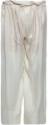 Stella McCartney Gathered Silk-Satin Wide-Leg Pants