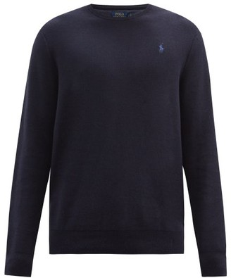 Polo Ralph Lauren Logo-embroidered Knitted-cotton Sweater - Mens - Navy