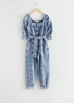 And other stories Puff Sleeve Denim Jumpsuit