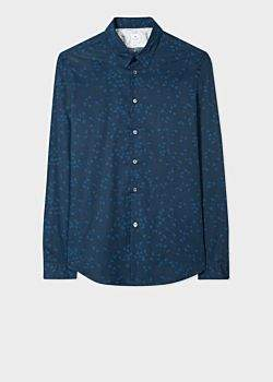 Paul Smith Men's Slim-Fit Dark Navy 'Paper Planes' Print Cotton Shirt