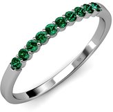 TriJewels Emerald 10 Stone Wedding Band 0.55 ct tw in 14K Yellow Gold.size 7.0