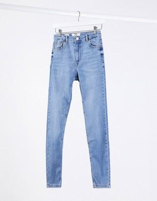 Bershka skinny high waist skinny jean in mid blue