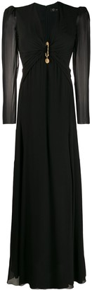 Versace Draped Safety Pin Long Dress