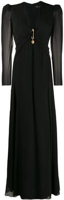 Versace draped safety pin long dress