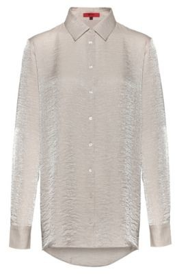HUGO Regular-fit blouse in shimmering textured fabric