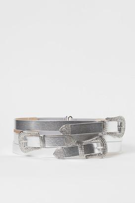H&M Shimmery Metallic Waist Belt - Silver