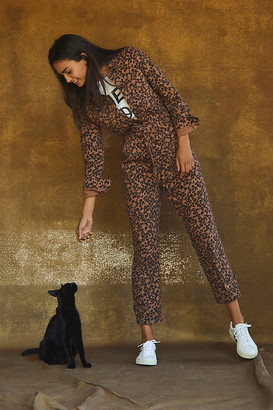 Anthropologie Leopard Utility Jumpsuit By in Brown Size XS