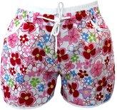 LETSQK Women's Fitted White Hem Floral Print Mini Sports Shorts L