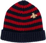 Gucci Bee striped beanie hat - men - Viscose/Wool/Metallic Fibre - S