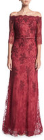 La Femme Off-the-Shoulder Elbow-Sleeve Lace Evening Gown