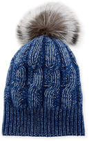 Sofia Cashmere Girls' Seed-Stitch Beanie Hat w/ Fur Pompom, Blue