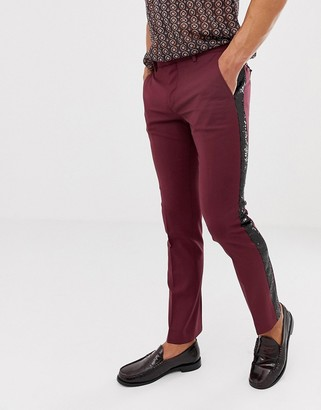 Twisted Tailor skinny fit trouser in burgundy with sequin stripe-Red