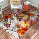 Zipcode Design Princess Bright Flowers Orange/White Area Rug Rug